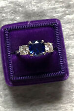 3Ct Round Blue Sapphire Diamond Trilogy Engagement Ring 18k White Gold Over