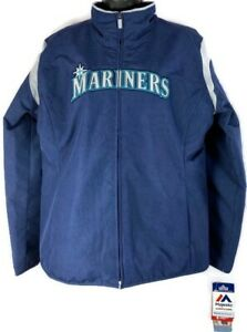 Majestic Seattle Mariners Women's L Dugout Jacket Therma Base Navy + Tags New