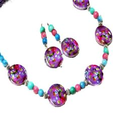Necklace set, Mother of Pearl, Purple, aqua, pink, Clip on or Pierced Earrings