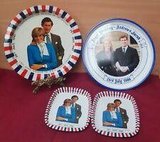 Vintage Royal Family Wedding Tin Trays lady diana prince charles Andrew & Sarah