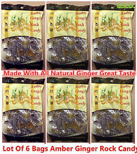 Lot Of 6 Bags Amber Ginger Rock Candy Made With All Natural Ginger FREE SHIPPING