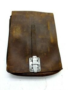 ANTIQUE LEATHER BICYCLE BOOK OR SCHOOL BAG