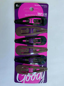 """Goody Snap Clips 6 pcs Ref # 03250 hair clip black brown girl 2 6/8"""" large styli"""