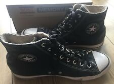 Converse All Star Chuck Taylor Black Leather Fur Lined Hi Top Boots - Size 11