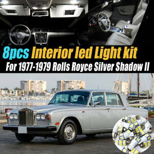 8Pc White Car Interior LED Light Kit for 1977-1979 Rolls Royce Silver Shadow II