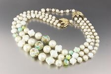 VINTAGE 50'S MULTI 3 STRAND WHITE & GREEN PLASTIC PEARL BEAD NECKLACE JAPAN