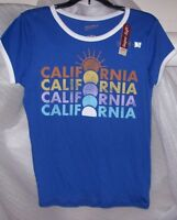 WOMENS /TEEN ARIZONA TEE SHIRT SCANDINAVIAN BLUE CALIFORNIA NEW WITH TAGS