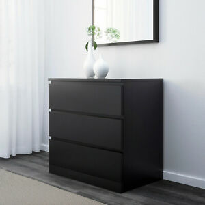 Malm Dresser With 3 Drawers, Black-Brown, 80x78 CM, Storage, Cabinet