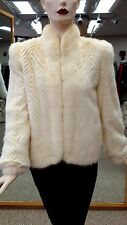 "Oyster Off White Mink Chevron Design 23"" Jacket W/ Full Skin Tuxedo Collar, sz4"