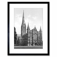 Vintage Photo Cathedral Salisbury History Framed Print 9x7 Inch