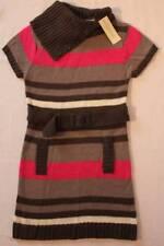 NEW Girls Sweater Dress Size XS 4 - 5 Knit Belt Winter Pink Gray Striped Acrylic