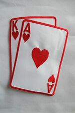 "#2265LRA 5-1/2"" Red Poker Card Ace King Of Hearts Suit Embroidery Applique Patch"