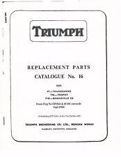 Triumph Parts Manual Book 1960, 1961 & 1962 Thunderbird 6T & Trophy TR6