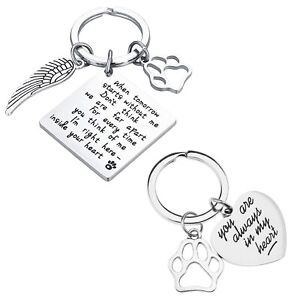 Pet Memorial Keyring Keychain 2pcs Dog Cat Paw Print Love Heart for Friend Gift