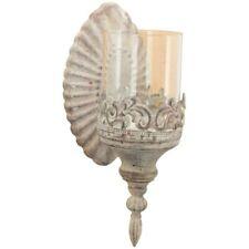 SALE /% Nostalgischer Wand-Spiegel-Kerzenhalter grau Metall Shabby Windlicht /%/%/%