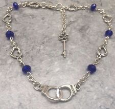 """12"""" Slave Sub Bdsm Unwanted Gift Handcuffs & Key Blue Crystal Heart Anklet"""