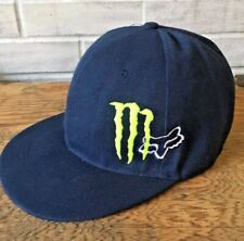 Fox Racing Monster Logo Energy Fitted Navy Blue Baseball Cap Hat Size 7 EUC