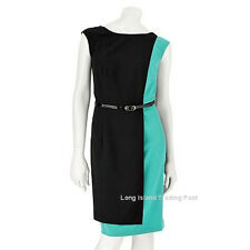 Classic Green Black Colorblock Dress Cap Sleeves Wear to Work Dinner Wedding 14