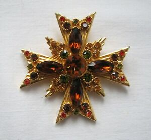 Vintage Gold Tone Maltese Cross Pendant Brooch Pin Faceted Glass Stones