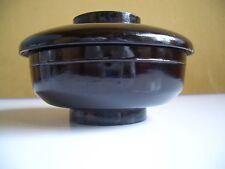 Japanese wooden vintage black bowl lid symple design nice cut pain 00004000 t feel #12225