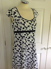 PER UNA @ M&S lovely white black & grey spot 100% LINEN dress UK 8 R