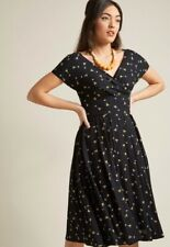 Modcloth Emily & Fin Martini Pin Up Dress Size Large Black Bodice Swing