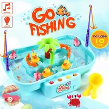 Electric Kids Fishing Game Playset 2 Fishing Rods Music Toys with Water Pump