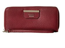 NWT Authentic Red (Claret)Large Guess Zip around Wristlet SLG Wallet.