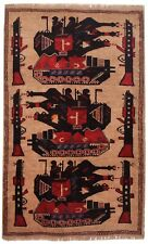 3272 # Stunning Afghan Hand-Knotted Tank War Carpet (138 x 87 cm) 100% Wool Rug