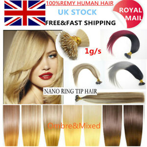 1g/s Nano Ring Tip Micro Bead Double Drawn Remy Human Hair Extensions Pre Bonded