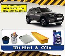KIT TAGLIANDO OLIO ELF + 4 FILTRI DACIA DUSTER 1.5 DCI 81KW 110CV DAL 2010 >