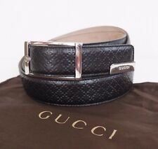 "NWOT Authentic GUCCI ""HILARY LUX DIAMANTE"" Black Leather Buckle 120-48 #268239"