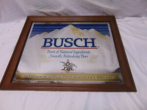"Vintage Busch Beer Framed glass bar mirror sign 21"" x 24"" Anheuser Busch red blu"
