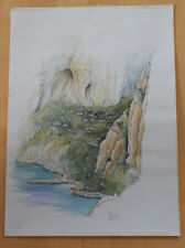 LANDSCHAFT Original Aquarell & Tusche Signiert Winter 1983 Painting 35 x 50 cm