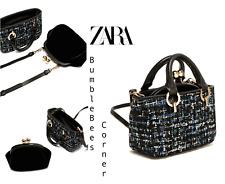 ZARA Mini CrossBody Bag TWEED Tote VELVET Pouch 3-in-1 HandBag Set NWT 8348/204