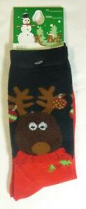 K Bell Christmas Reindeer Ornaments Black & Red Socks Size 9 - 11 Gift Tag New