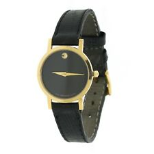 Movado  Ladies Gold Tone Black Museum Dial - Leather Band Watch  # 87.A1.832