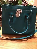 Michael Kors Hamilton Deep Teal Saffiano Leather Satchel Tote Handbag Bag