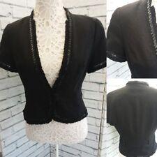 George UK 12 Black Linen Blend Short Sleeve Sequin Detail Lined Jacket
