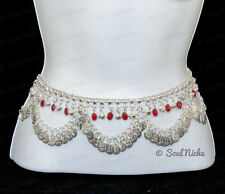 """Belly Dancing Hip Chain - Silver Tone Glass Charms - Waist 35-41"""" JW155 Ruby Red"""