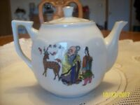 Oriental Vintage Porcelain Teapot & 6 Cups Made In Taiwan Republic Of China