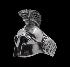silver Spartan Leonidas Skull biker ring black crystal eyes custom sized  R-201s