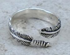 Unique .925 STERLING SILVER Adjustable FEATHER ring size 6  style# r2362