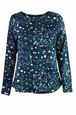 Mistral navy grün Rundhals lange Ärmel Baumwolle Floral Tunika Bluse Top Shirt