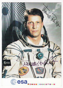 Thomas Reiter Autogramm signiert ESA Autogrammkarte Astronaut Euromir 95 mission