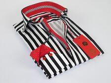 Men Axxess Egyptian Cotton wrinkle resistant Shirt Stripe European 119-20 Black