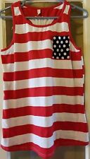 Women Plus Size XL American Flag Stripe Stars Tank with Front Pocket