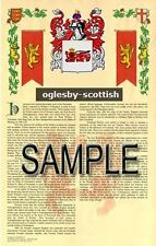 OGLESBY Armorial Name History - Coat of Arms - Family Crest GIFT! 11x17