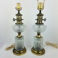 Vintage Crystal Table Lamp Set of 2 Hollywood Regency Gold Tone Made in Italy