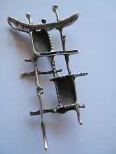 Vintage Israel Modernist Brutalist Abstract Sterling Silver Pin